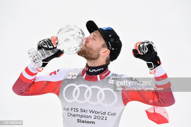Marco Schwarz of Austria takes 1st place in the overall standings during the Audi FIS Alpine Ski World Cup Men's Slalom on March 21, 2021 in...