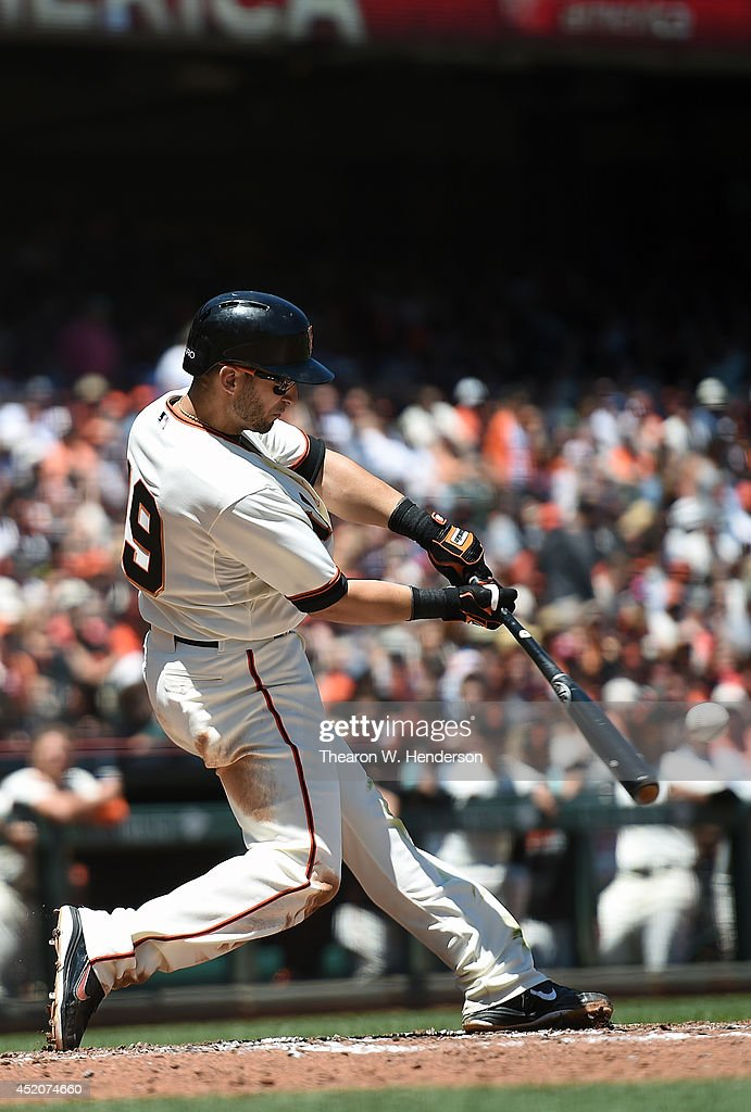 Marco Scutaro #19 of the San Francisco Giants bats in the bottom of the third inning against the Arizona Diamondbacks at AT&T Park on July 12, 2014 in San Francisco, California.