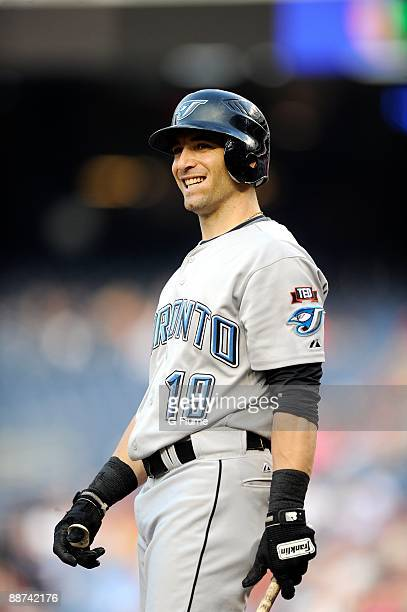 Marco Scutaro of the Toronto Blue Jays reacts to a called strike during the game against the Washington Nationals at Nationals Park on June 19 2009...