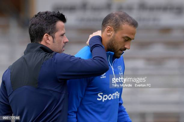 Marco Silva and Cenk Tosun of Everton during the Everton training session on July 10 2018 in Bad Mitterndorf Austria