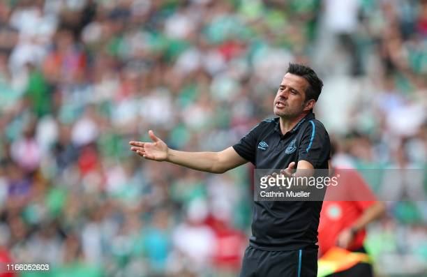 Marco Silva, head coach of FC Everton gestures during the pre-season friendly match between SV Werder Bremen and FC Everton at Wohninvest...