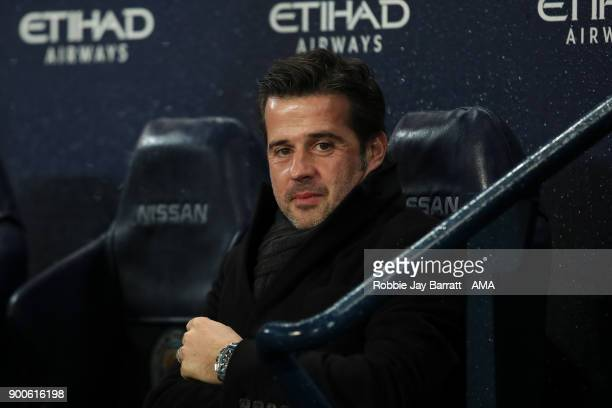 Marco Silva manager / head coach of Watford during the Premier League match between Manchester City and Watford at Etihad Stadium on January 2 2018...