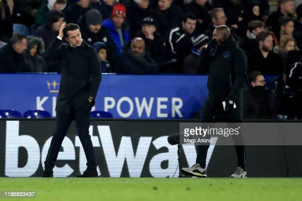 Marco Silva manager of Everton and assistant Luís Boa Morte react during the Premier League match between Leicester City and Everton FC at The King...