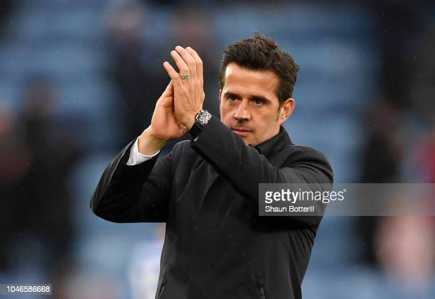 Marco Silva Manager of Everton applauds fans after the Premier League match between Leicester City and Everton FC at The King Power Stadium on...