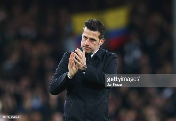 Marco Silva Manager of Everton applauds the crowd after the Premier League match between Everton FC and Tottenham Hotspur at Goodison Park on...