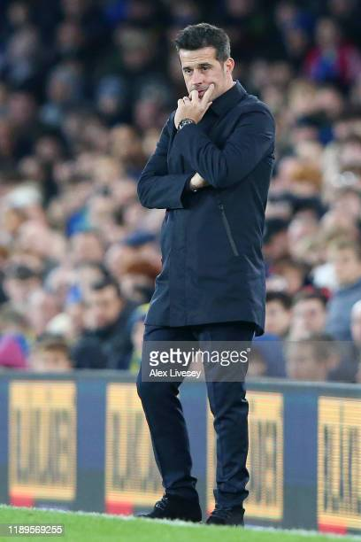 Marco Silva, Manager of Everton looks dejected following his sides defeat in during the Premier League match between Everton FC and Norwich City at...