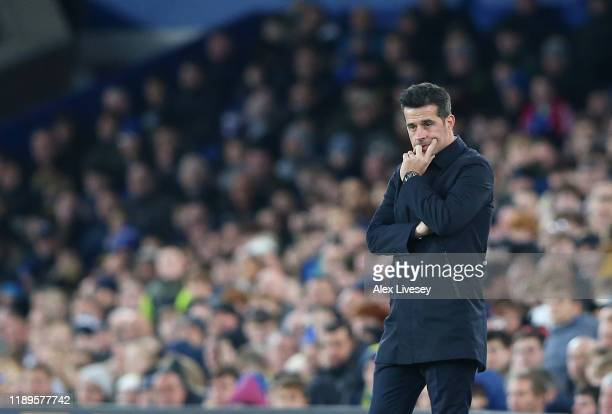 Marco Silva, manager of Everton looks dejected following his sides defeatduring the Premier League match between Everton FC and Norwich City at...