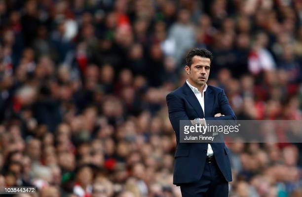 Marco Silva Manager of Everton looks on during the Premier League match between Arsenal FC and Everton FC at Emirates Stadium on September 23 2018 in...