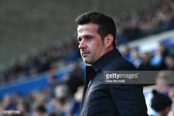 Marco Silva Manager of Everton looks on during the Premier League match between Everton FC and Leicester City at Goodison Park on January 1 2019 in...