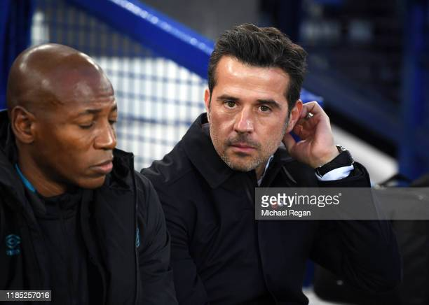 Marco Silva, Manager of Everton looks on during the Premier League match between Everton FC and Tottenham Hotspur at Goodison Park on November 03,...