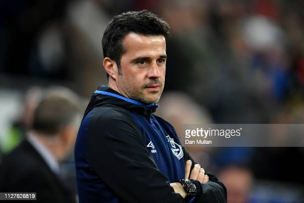 Marco Silva Manager of Everton looks on prior to the Premier League match between Cardiff City and Everton FC at Cardiff City Stadium on February 26...