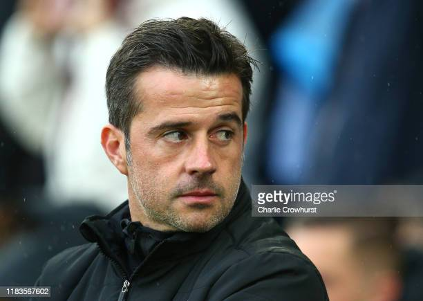 Marco Silva, Manager of Everton looks on prior to the Premier League match between Brighton & Hove Albion and Everton FC at American Express...