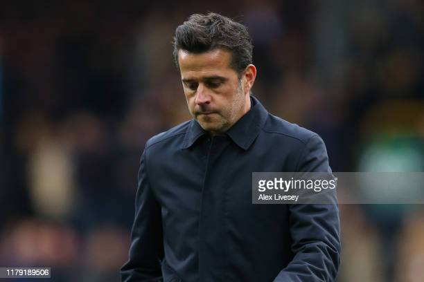 Marco Silva Manager of Everton reacts after the Premier League match between Burnley FC and Everton FC at Turf Moor on October 05 2019 in Burnley...