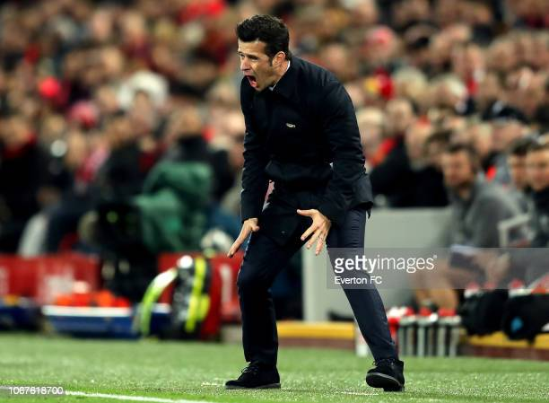 Marco Silva Manager of Everton reacts during the Premier League match between Liverpool FC and Everton FC at Anfield on December 2 2018 in Liverpool...
