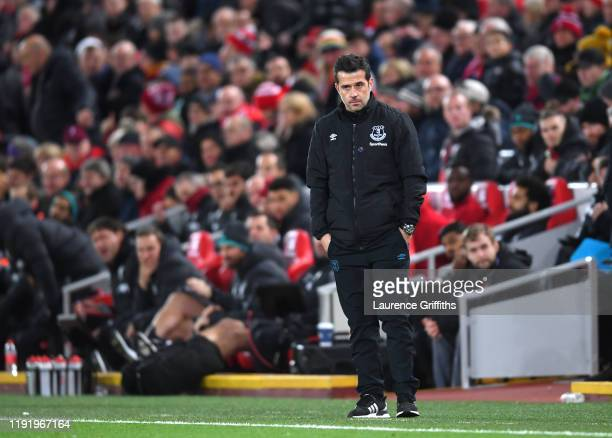 Marco Silva, Manager of Everton reacts during the Premier League match between Liverpool FC and Everton FC at Anfield on December 04, 2019 in...