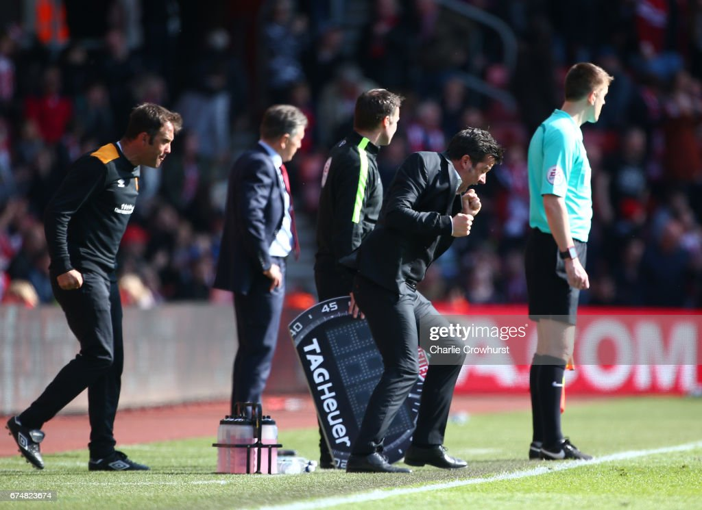 Marco Silva, Manager of Hull City celebrates after Southampton miss a penalty during the Premier League match between Southampton and Hull City at St Mary's Stadium on April 29, 2017 in Southampton, England.