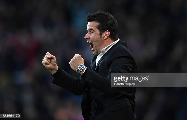 Marco Silva Manager of Hull City celebrates his side goal during the Premier League match between Hull City and AFC Bournemouth at KCOM Stadium on...