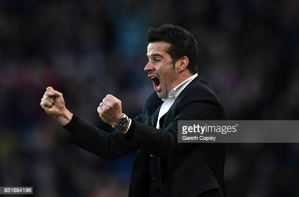 Marco Silva, Manager of Hull City celebrates his side goal during the Premier League match between Hull City and AFC Bournemouth at KCOM Stadium on...