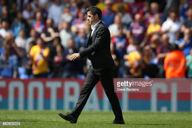 Marco Silva Manager of Hull City looks dejected after being relegated to the Championship after the Premier League match between Crystal Palace and...