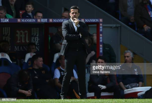 Marco Silva Manager of Hull City looks dejected during the Premier League match between Crystal Palace and Hull City at Selhurst Park on May 14 2017...