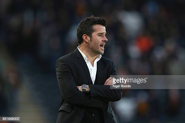 Marco Silva Manager of Hull City looks on during the Premier League match between Hull City and AFC Bournemouth at KCOM Stadium on January 14 2017 in...