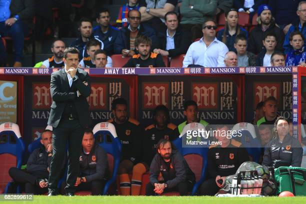 Marco Silva Manager of Hull City looks on during the Premier League match between Crystal Palace and Hull City at Selhurst Park on May 14 2017 in...