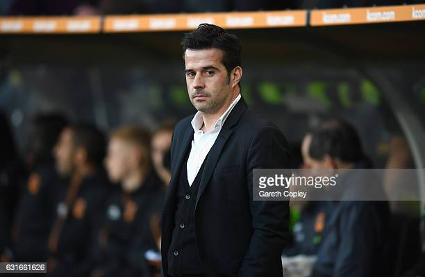 Marco Silva manager of Hull City looks on prior to the Premier League match between Hull City and AFC Bournemouth at KCOM Stadium on January 14 2017...