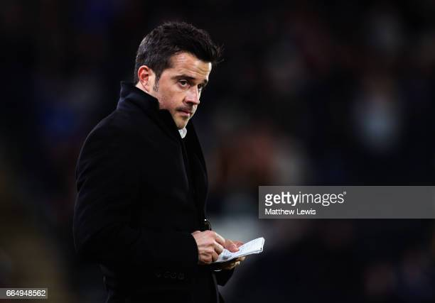 Marco Silva Manager of Hull City makes notes during the Premier League match between Hull City and Middlesbrough at the KCOM Stadium on April 5 2017...