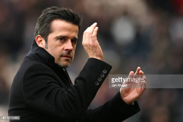 Marco Silva Manager of Hull City reacst during the Premier League match between Hull City and Watford at the KCOM Stadium on April 22 2017 in Hull...