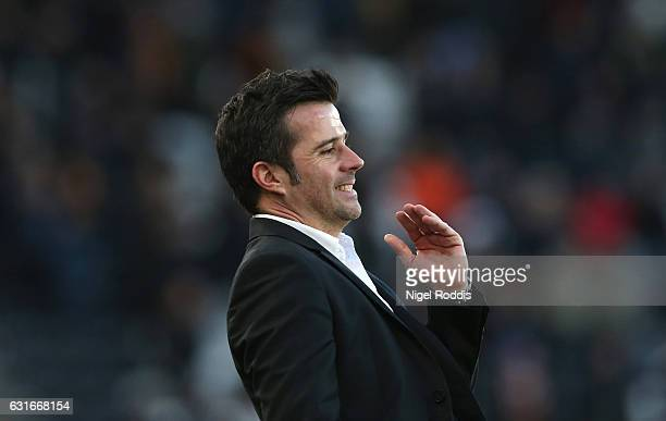 Marco Silva Manager of Hull City reacts during the Premier League match between Hull City and AFC Bournemouth at KCOM Stadium on January 14 2017 in...
