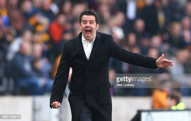 Marco Silva Manager of Hull City reacts during the Premier League match between Hull City and Swansea City at KCOM Stadium on March 11 2017 in Hull...