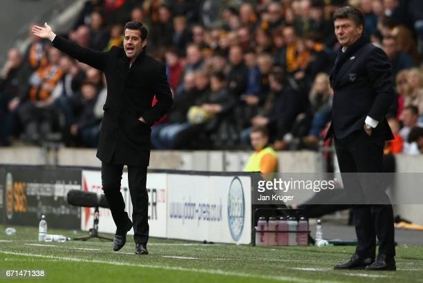 Marco Silva Manager of Hull City reacts during the Premier League match between Hull City and Watford at the KCOM Stadium on April 22 2017 in Hull...