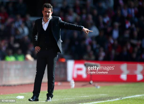 Marco Silva Manager of Hull City reacts during the Premier League match between Southampton and Hull City at St Mary's Stadium on April 29 2017 in...