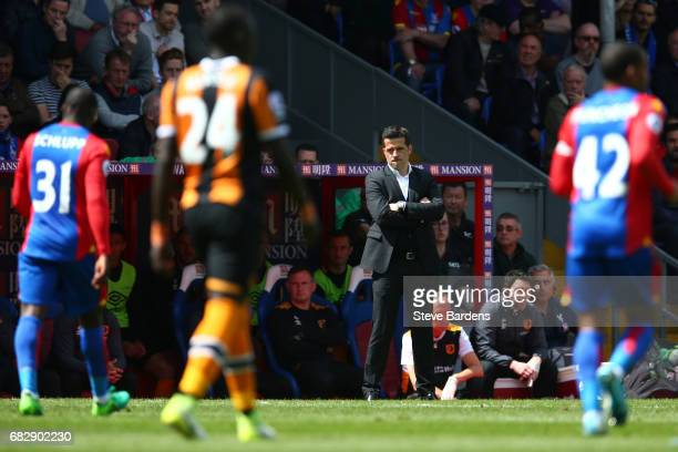 Marco Silva Manager of Hull City reacts during the Premier League match between Crystal Palace and Hull City at Selhurst Park on May 14 2017 in...