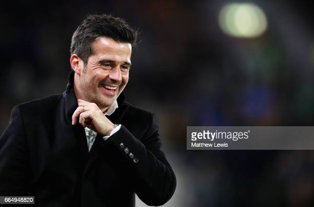 Marco Silva Manager of Hull City smiles during the Premier League match between Hull City and Middlesbrough at the KCOM Stadium on April 5 2017 in...