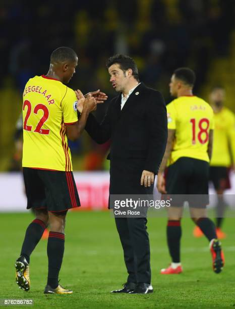 Marco Silva Manager of Watford and Marvin Zeegelaar of Watford shake hands after the Premier League match between Watford and West Ham United at...