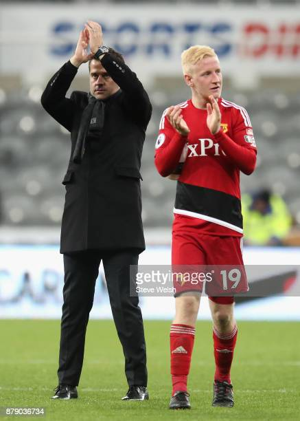 Marco Silva Manager of Watford and Will Hughes show appreciation to the fans following the Premier League match between Newcastle United and Watford...