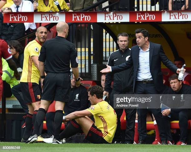 Marco Silva Manager of Watford during the Premier League match between Watford and Liverpool at Vicarage Road on August 12 2017 in Watford England