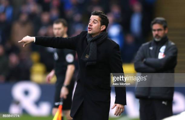 Marco Silva Manager of Watford gives his team instructions during the Premier League match between Watford and Huddersfield Town at Vicarage Road on...