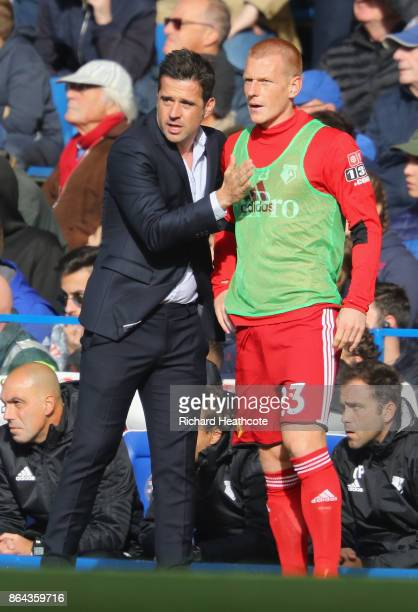 Marco Silva Manager of Watford gives intruction to Ben Watson of Watford during the Premier League match between Chelsea and Watford at Stamford...