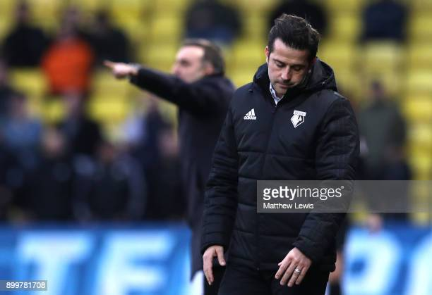 Marco Silva Manager of Watford looks dejected during the Premier League match between Watford and Swansea City at Vicarage Road on December 30 2017...