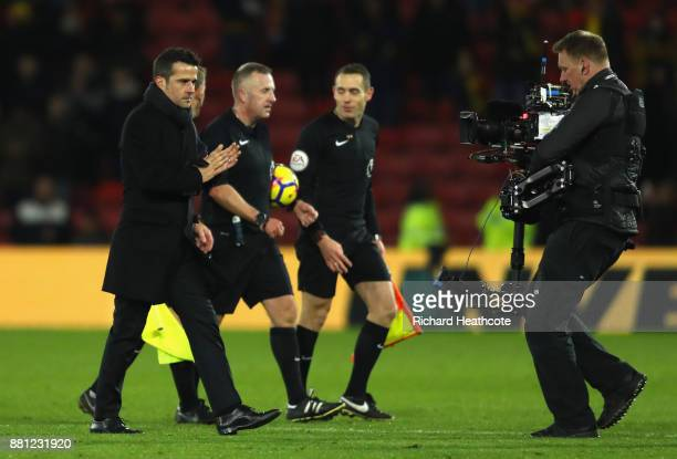 Marco Silva Manager of Watford looks on after the Premier League match between Watford and Manchester United at Vicarage Road on November 28 2017 in...