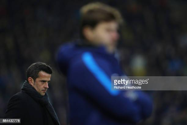 Marco Silva Manager of Watford looks on during the Premier League match between Watford and Tottenham Hotspur at Vicarage Road on December 2 2017 in...