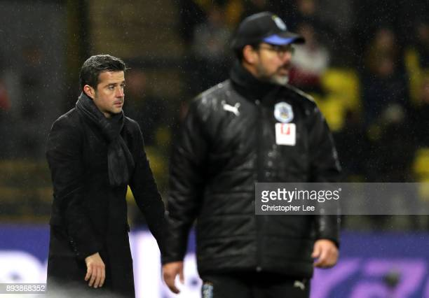 Marco Silva Manager of Watford looks on during the Premier League match between Watford and Huddersfield Town at Vicarage Road on December 16 2017 in...