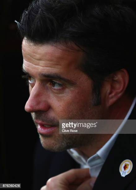Marco Silva Manager of Watford looks on prior to the Premier League match between Watford and West Ham United at Vicarage Road on November 19 2017 in...