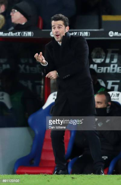 Marco Silva Manager of Watford makes a point during the Premier League match between Crystal Palace and Watford at Selhurst Park on December 12 2017...