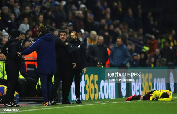 Marco Silva Manager of Watford reacts as Richarlison de Andrade of Watford goes down injured during the Premier League match between Watford and...