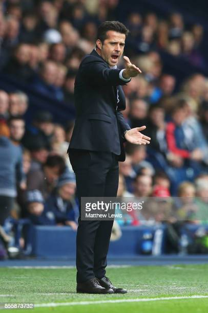 Marco Silva Manager of Watford reacts during the Premier League match between West Bromwich Albion and Watford at The Hawthorns on September 30 2017...