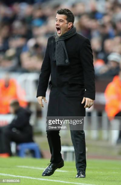 Marco Silva Manager of Watford reacts during the Premier League match between Newcastle United and Watford at St James Park on November 25 2017 in...