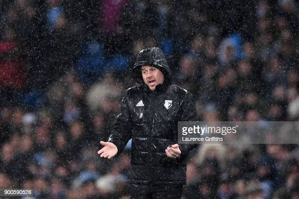 Marco Silva Manager of Watford reacts during the Premier League match between Manchester City and Watford at Etihad Stadium on January 2 2018 in...